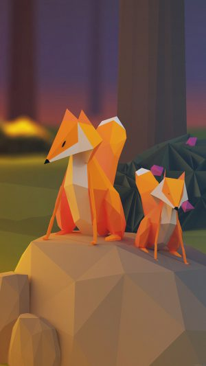 Two Fox Illust Art 3d Animal iPhone 7 wallpaper