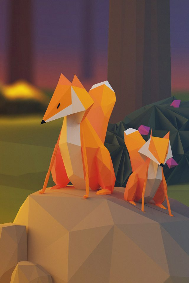 Two Fox Illust Art 3d Animal iPhone wallpaper