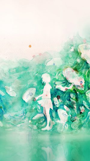 Watercolor Green Girl Nature Art Illust iPhone 7 wallpaper