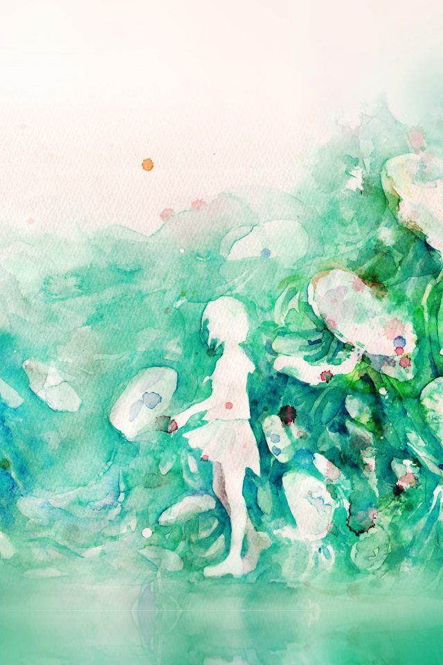 Watercolor Green Girl Nature Art Illust iPhone wallpaper