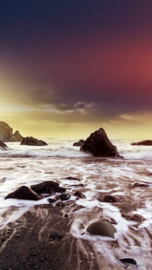 Wave Ocean Beach Red Owen Walters Flare Nature iPhone 7 wallpaper