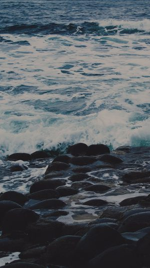 Wet Sea Beach Wave Dark Olivia Henry Nature iPhone 7 wallpaper