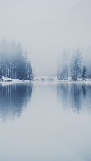 Winter Lake White Blue Wood Nature iPhone 7 wallpaper