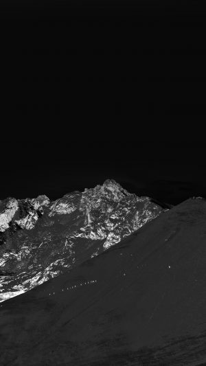 Winter Mountain Snow Bw Nature Dark iPhone 7 wallpaper