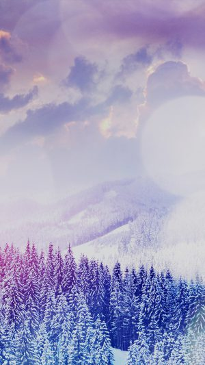 Winter Mountain Snow White Blue Flare Nature iPhone 7 wallpaper