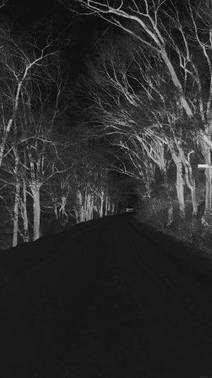 Winter Scary Road Nature Mountain Dark iPhone 7 wallpaper