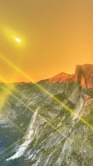 Yosemite Mountain Art Yellow Flare Sky Nature iPhone 7 wallpaper