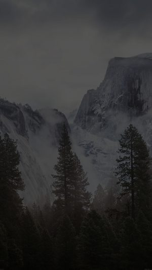 Yosemite Snow Black Mountain Nature iPhone 7 wallpaper