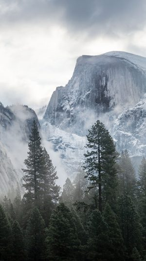 Yosemite Snow Mountain Nature iPhone 7 wallpaper