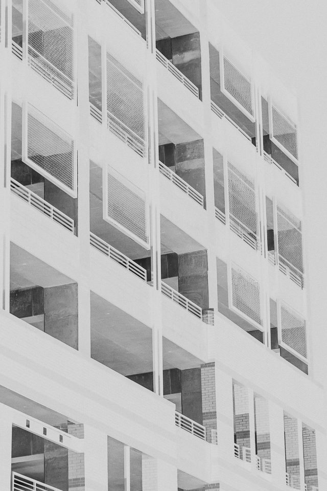 Bw Night Building Window White Architecture City iPhone wallpaper