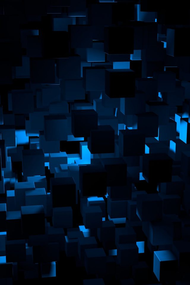 Cube Dark Blue Abstract Pattern IPhone Wallpaper