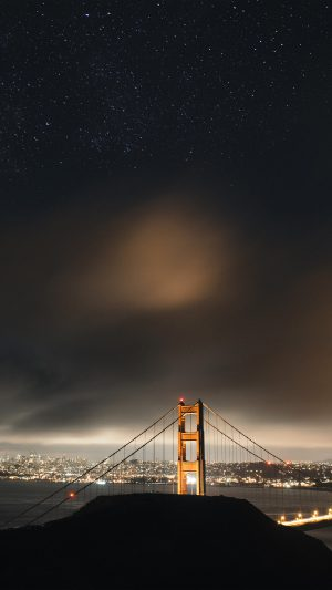 Golden Bridge Sky Star Milkyroad River City Night Dark iPhone 7 wallpaper