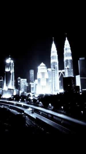 Kuala Lumpur Dark City Urban Art Illustration iPhone 7 wallpaper