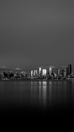 Night City View Dark Bw Nautre Art iPhone 7 wallpaper