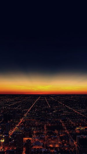 Night Sky Flying Sunset City iPhone 7 wallpaper