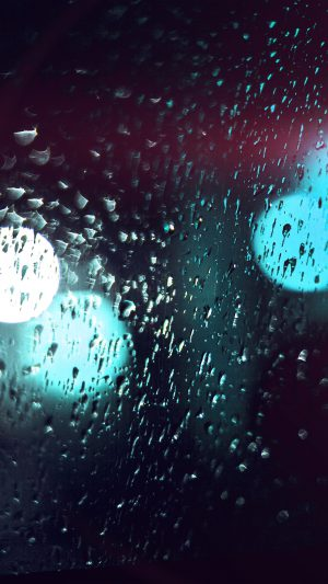 Rainy Night Drops Bokeh Green Flare Light Pattern iPhone 7 wallpaper