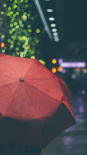 Rainyday Umbrella Bokeh City Night Dark iPhone 7 wallpaper