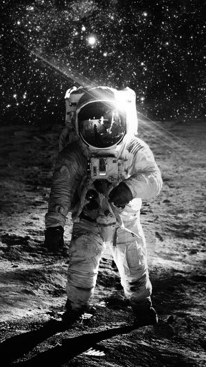Astronaut Space Art Moon Dark Bw iPhone 7 wallpaper