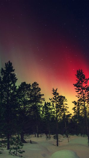 Aurora Night Red Sky Space Dark Romantic iPhone 7 wallpaper