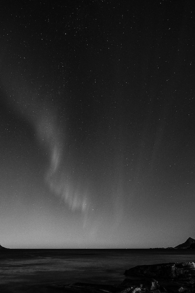 Aurora Night Sky Star Beautiful Space Sea Dark Bw iPhone wallpaper