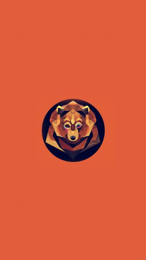 Bear Polygon Art Animal Orange iPhone 7 wallpaper