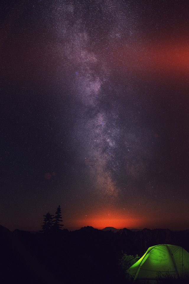 Camping Night Star Galaxy Milky Sky Dark Space IPhone Wallpaper