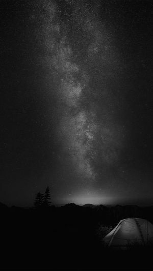 Camping Night Star Galaxy Milky Sky Dark Space Bw Dark iPhone 7 wallpaper