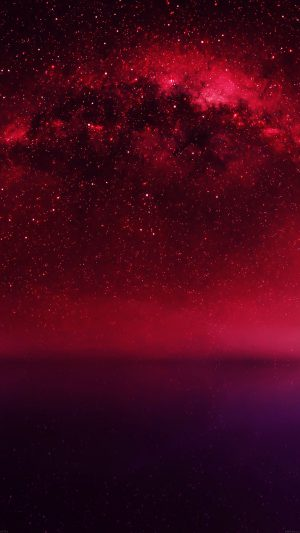 Cosmos Red Night Live Lake Space Starry iPhone 7 wallpaper