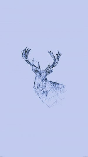 Deer Animal Illust Blue iPhone 7 wallpaper