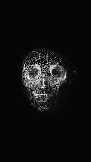 Digital Skull Dark Abstract Art Illustration Bw iPhone 7 wallpaper