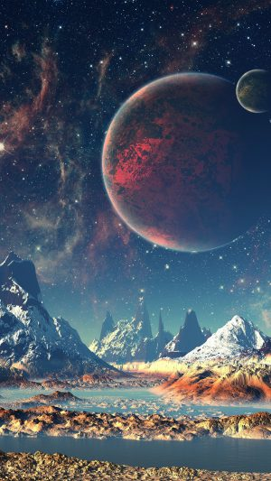 Dream Space World Mountain Sky Star Illustration iPhone 7 wallpaper