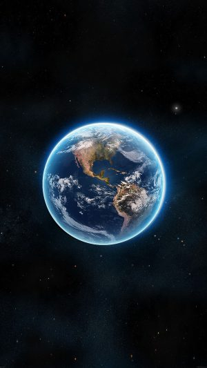 Earth View From Space Satellite Illust Art iPhone 7 wallpaper