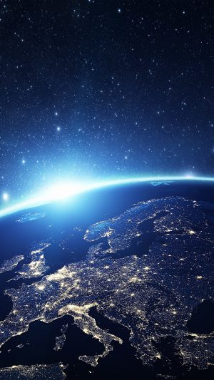 Europe Earth Blue Space Night Art Illustration iPhone 7 wallpaper