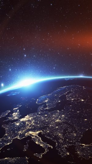Europe Earth Blue Space Night Art Illustration Flare iPhone 7 wallpaper