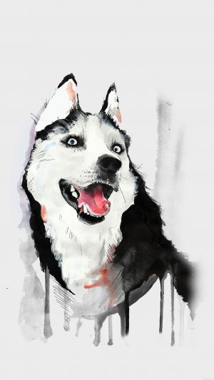 Happy Dog Husky Animal Illust Watercolor iPhone 7 wallpaper