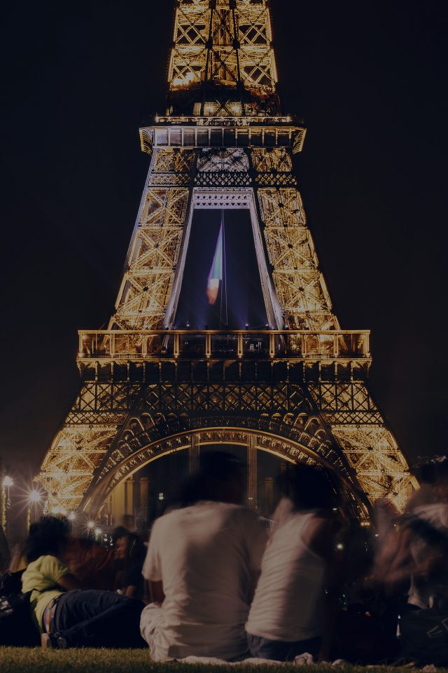 Happy Paris Eiffel Tower France Tour Night City Darken iPhone wallpaper