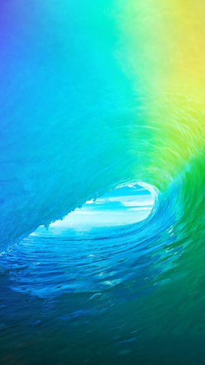 Ios9 Apple Wave Rainbow Sea Ocean iPhone 7 wallpaper