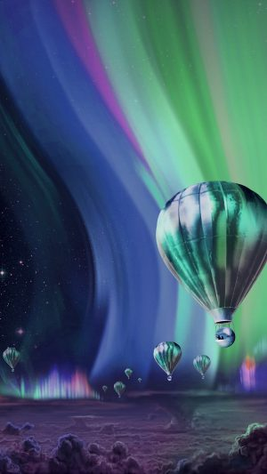 Jupiter Aurora Space Sky Art Illustration Blue iPhone 7 wallpaper