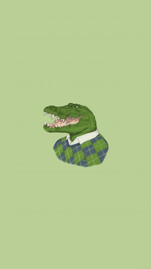 Lacoste Human Animal Minimal Art Illust Green iPhone 7 wallpaper