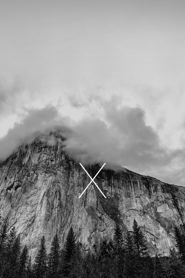 Os X Yosemite Mac Apple Black White Mountain iPhone wallpaper