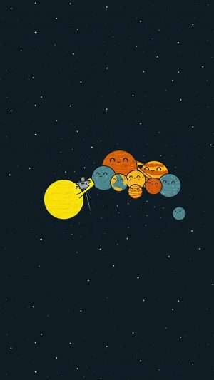 Planets Cute Illustration Space Art iPhone 7 wallpaper