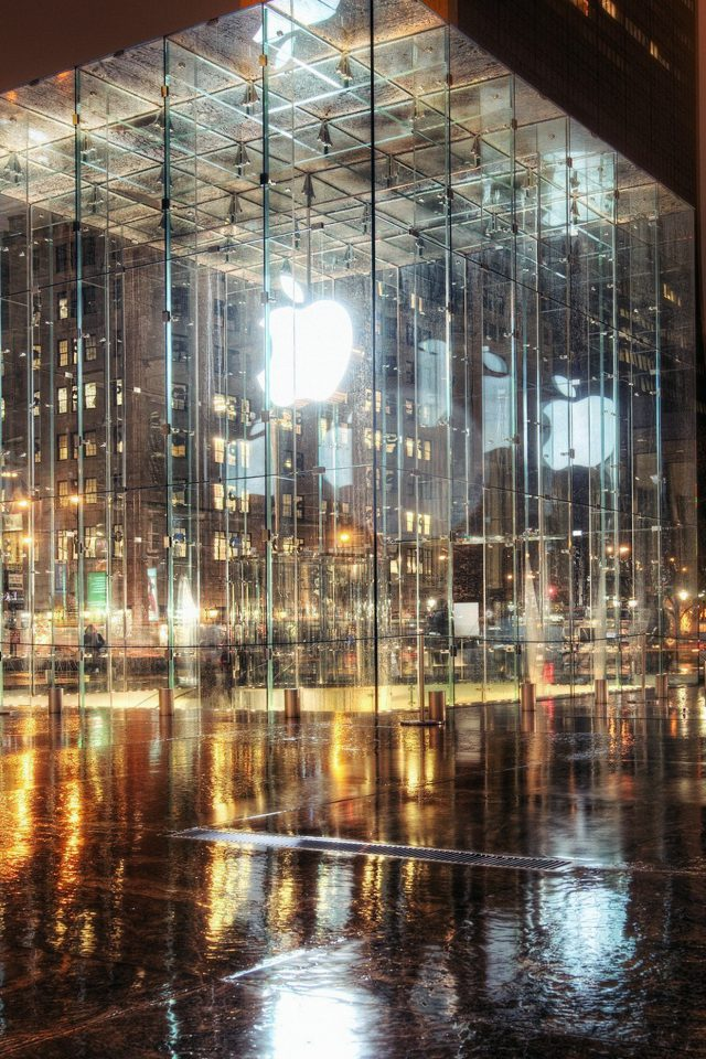 Raining Apple Store Newyork Iphone 7 Wallpaper
