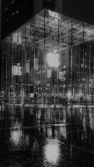 Raining Apple Store Newyork At Night Dark iPhone 7 wallpaper