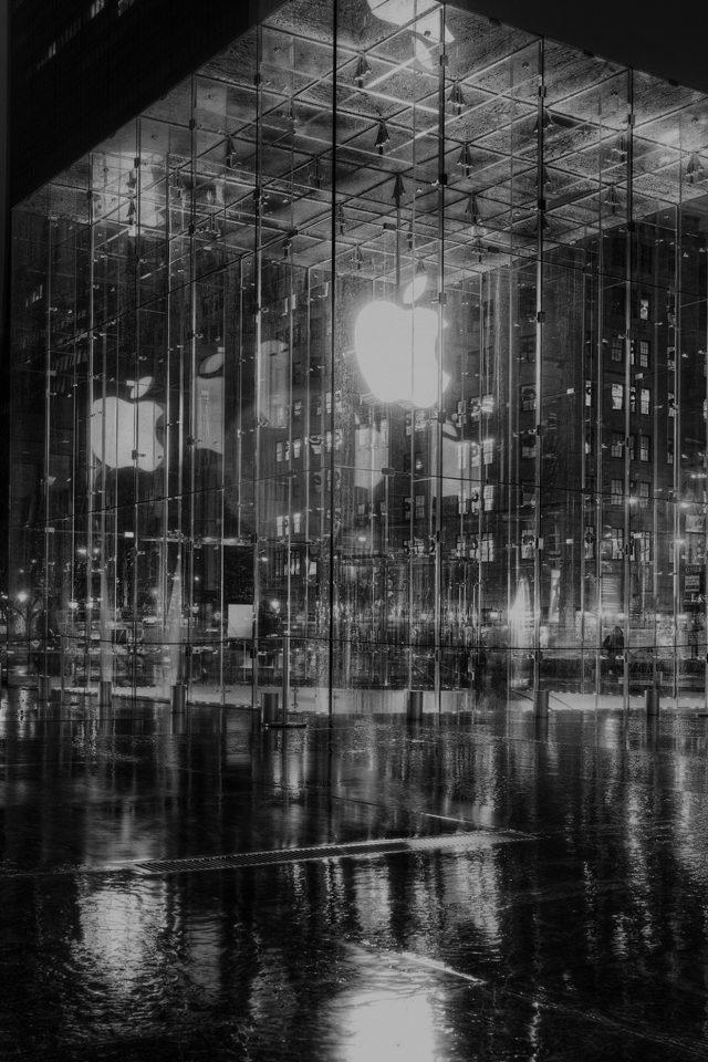 Raining Apple Store Newyork At Night Dark Iphone 7 Wallpaper Iphone7wallpapers Co