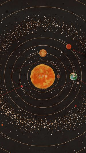 Solar System Space Art Cover Red iPhone 7 wallpaper