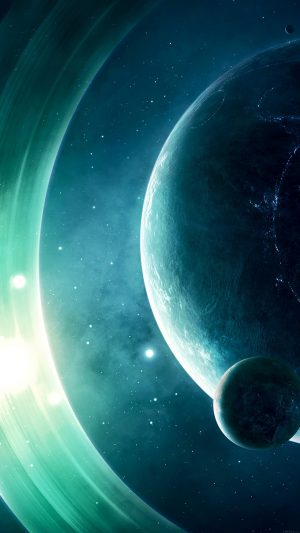Space Odyssey Saturn Dark Art Nature iPhone 7 wallpaper