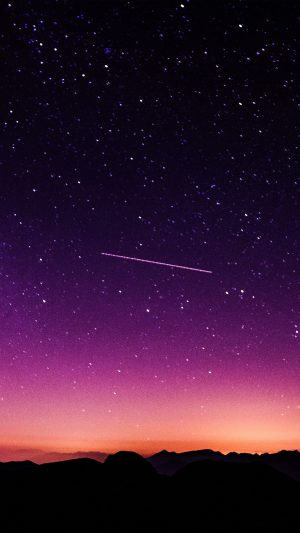 Star Galaxy Night Sky Mountain Purple Red Nature Space iPhone 7 wallpaper