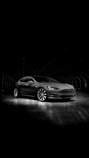 Tesla Model Dark Bw Car iPhone 7 wallpaper