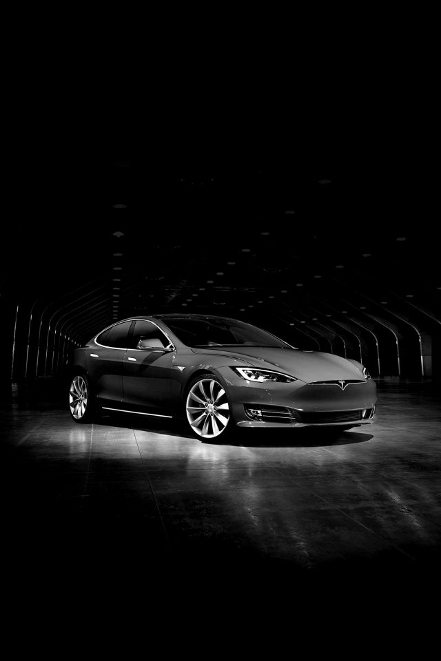 Tesla Model Dark Bw Car Iphone 7 Wallpaper Iphone7wallpapers Co