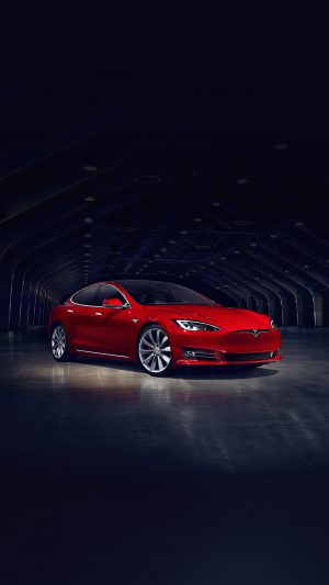 Tesla Model Red Car iPhone 7 wallpaper